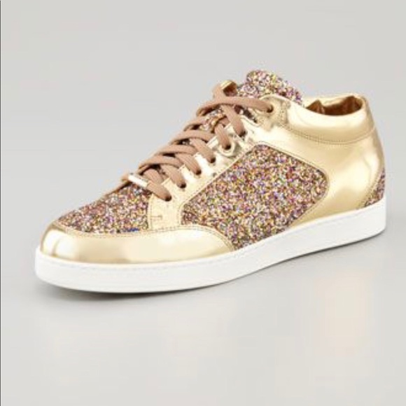 7d34d0321b Jimmy Choo Shoes - Jimmy Choo Miami Low Top Gold Glitter Sneaker